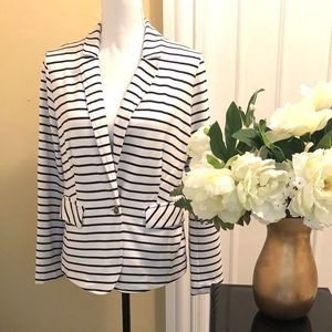 White Navy Stripe Blazer